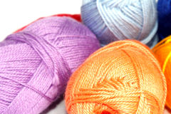 Hanks  of different  colored  yarn. For knitting Royalty Free Stock Photography