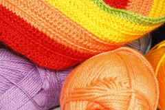 Hanks  of different  colored  yarn f. Or knitting Royalty Free Stock Images