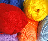 Hanks  of different  yarn. Hanks  of different  colored  yarn for knitting Royalty Free Stock Image