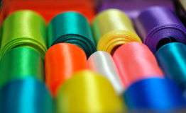 Hanks of multi-colored ribbons Close up. Macro Royalty Free Stock Photo