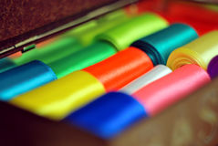 Hanks of multi-colored ribbons Close up. Macro fokus centre Stock Image