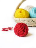 Hanks Of The Yarn For Knitting In Basket Royalty Free Stock Images