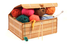 Hanks Of Wool, Knitting Needles In A Box . Royalty Free Stock Photo