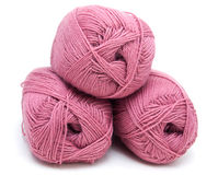 Hanks of a pink wool Stock Photos