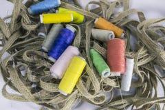 Hanks of thread and hemp tape stock image