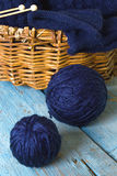 Hanks of wool, knitting needles and blue knitted scarf Stock Photos