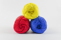 Hanks of wool yarn Stock Photo