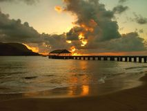 Hanlalei Bay Dusk, Kauai Stock Photography