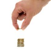hanling euro monety ręka Fotografia Royalty Free