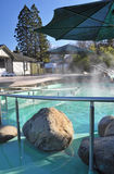 Hanmer Springs Spa Tourist Resort, New Zealand. Hanmer Springs natural steaming hotpools & spa tourist resort pools in winter, Canterbury New Zealand Stock Image