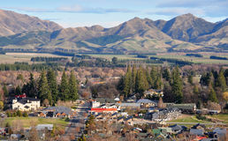 Hanmer Township , New Zealand. The thermal town of Hanmer in the Southern Alps of New Zealand on the beautiful spring evening Royalty Free Stock Photo