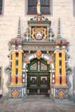 Hann. Münden rathaus. Hannoversch Münden is a town in Lower Saxony, Germany. Decorated entrance of the rathaus. 6/5/2010 royalty free stock image