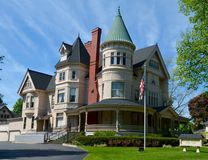 Hannah House. This is a Spring picture of the Perry Hannah House located in Traverse City, Michigan.  The house was designed by W. G. Robinson, is an example of Royalty Free Stock Image
