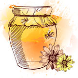 Hannd drawn jar of honey, flowers and bees. VECTOR. Orange & yellow abstract background Royalty Free Stock Photo