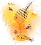 Hannd rysująca miodowa łyżka również zwrócić corel ilustracji wektora Pomarańczowy & żółty abstrakcjonistyczny tło Zdjęcia Stock