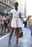 Hanne Gaby Odiele summer outfit during New York Fashion Week. United States stock photos