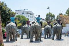 Hannibal Barca и его армия с слонами войны стоковые фотографии rf