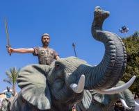 Hannibal Barca de Carthage et de l'éléphant de guerre images stock