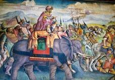 Hannibal in Italië - fresko, Capitoline-Museum Stock Foto's