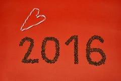2016 hanno fatto dai chicchi di caffè Fotografia Stock Libera da Diritti