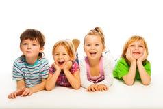4 hanno isolato i bambini isolati su bianco Fotografia Stock