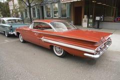 1961 hanno ristabilito Chevy Impala rosso Fotografia Stock