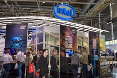 Hannover, Germania - 13 giugno 2018: Parte della cabina di Intel immagini stock