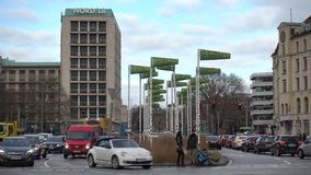 Hannover, Germany - December 04, 2017: The artificial birch wood in the center of Hanover stock video footage
