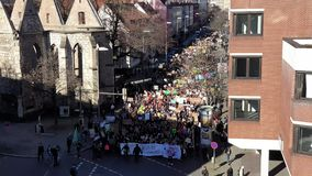 Hannover, Germany - February 15, 2019: Thousands of students demonstrate in Hanover against the climate protection. Policy of adults. 4K video stock video