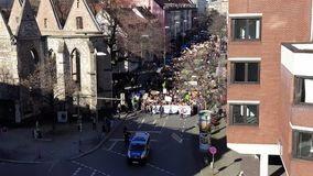 Hannover, Germany - February 15, 2019: Thousands of students demonstrate in Hanover against the climate protection