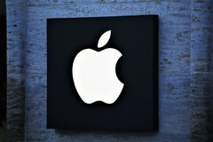 11/13/2017 - Hannover/Germany - An Image of a apple Logo - store. Abstract royalty free stock photography