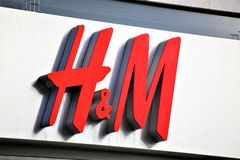 Hannover/Germany - 11/13/2017 - An Image of a H&M Logo - Fashion shop. Abstract royalty free stock image