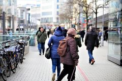 Hannover/Germany - 11/13/2017 - An Image of a Shopping street. Center - abstract stock photos