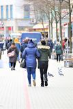 Hannover/Germany - 11/13/2017 - An Image of a Shopping street. Center - abstract royalty free stock images