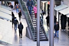 Hannover/Germany - 11/13/2017 - An Image of a Shopping street. Center - abstract stock image