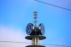 Hannover/Germany - 11/13/2017 - An Image of a VW Tower - VW Logo. Abstract royalty free stock image