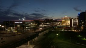 Hannover, Germany - January 18, 2018: Hannover airport at winter evening. Time lapse. stock video footage