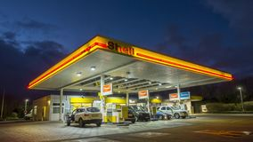 Hannover, Germany - January 16, 2018: Shell gas station at night in Hannover, Germany. 4K time lapse. stock footage