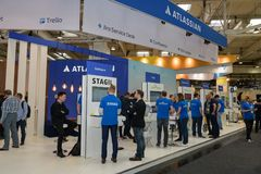 Hannover, Germany - June 13, 2018: Booth of company Atlassian stock images
