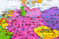 Hannover Germany map. Hannover in Germany pinned on colorful political map of Europe. Geopolitical school atlas. Tilt shift effect stock photos