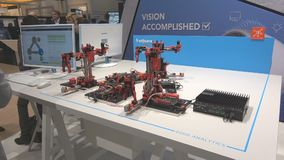 DFKI German research center for artificial intelligence and Aris Community built Lego smart factory on exhibition fair stock video
