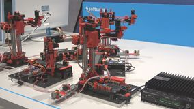 DFKI German research center for artificial intelligence and Aris Community built Lego smart factory on exhibition fair stock footage