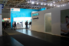 Stand of Siemens on March 9, 2013 in CEBIT computer expo, Hannover, Germany. CeBIT is the world's lar Royalty Free Stock Image