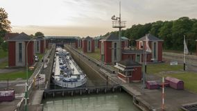 Hannover, Germany - May 20, 2018: Anderten Lock on the Midland Canal near Hannover, Germany. Time lapse.