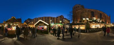 HANNOVER, GERMANY - NOVEMBER  29, 2011: Traditional Christmas market in old Hannover. Royalty Free Stock Photo
