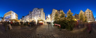 HANNOVER, GERMANY - NOVEMBER  29, 2011: Traditional Christmas market in old Hannover. Royalty Free Stock Image