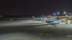 Hannover, Germany - October 15, 2017: A timelapse clip of Hannover airport terminal at evening. Hannover, Germany - October 15, 2017: A timelapse clip of stock video footage