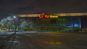Hannover, Germany - October 28, 2017: TUI Arena on Expo Plaza in Hannover at evening. Hyperlapse stock footage