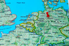 Hannover, Germany pinned on a map of Europe.  royalty free stock image