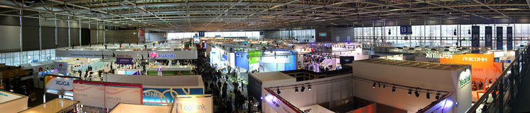 Panoramic view of Hall 13 on March 9, 2013 at CEBIT computer expo Stock Photo